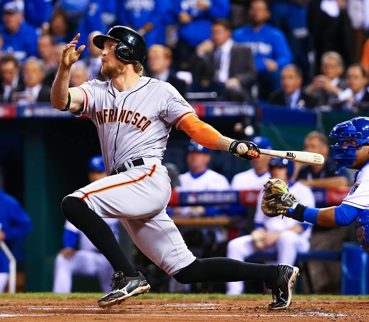 Hunter Pence hit the first home run in the 2014 World Series, taking James Shields deep for a two-run shot in the first inning.