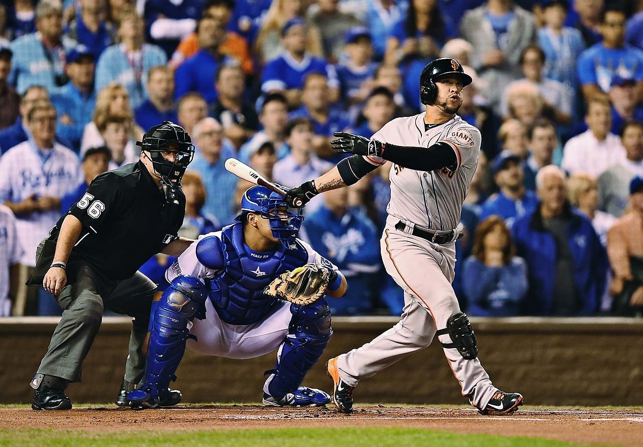 Gregor Blanco became the 10th player to open a World Series game with a home run when he drilled a 98mph fastball by Yordano Ventura, the first rookie to make a start in the Fall Classic in Royals history.