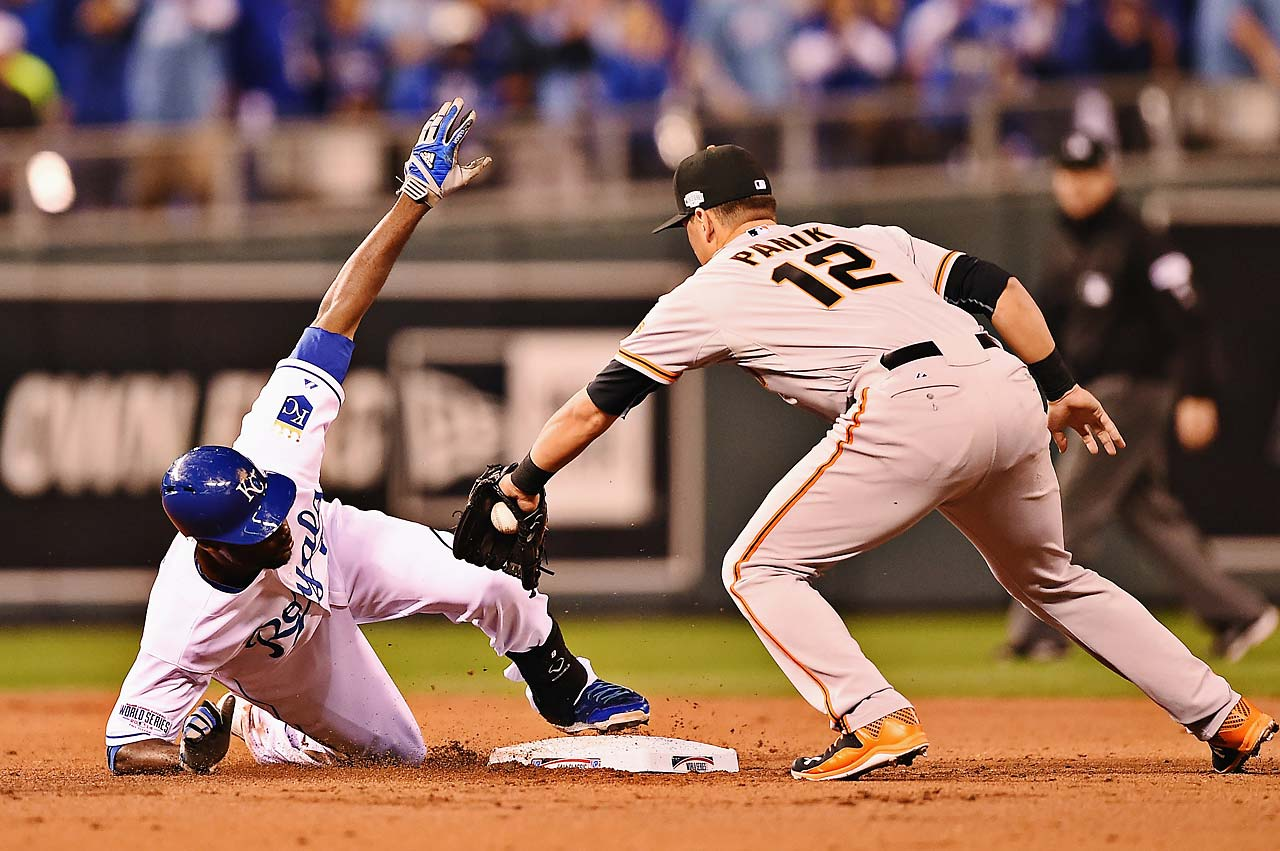 Lorenzo Cain reaches second safely with the first of four doubles the Royals had in Game 2.