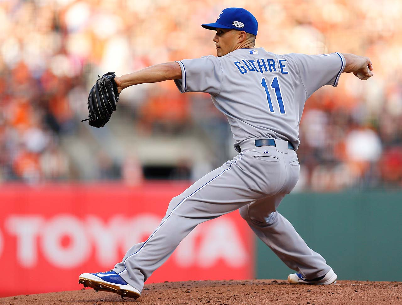 Jeremy Guthrie threw five-plus innings of four-hit ball and got the win.
