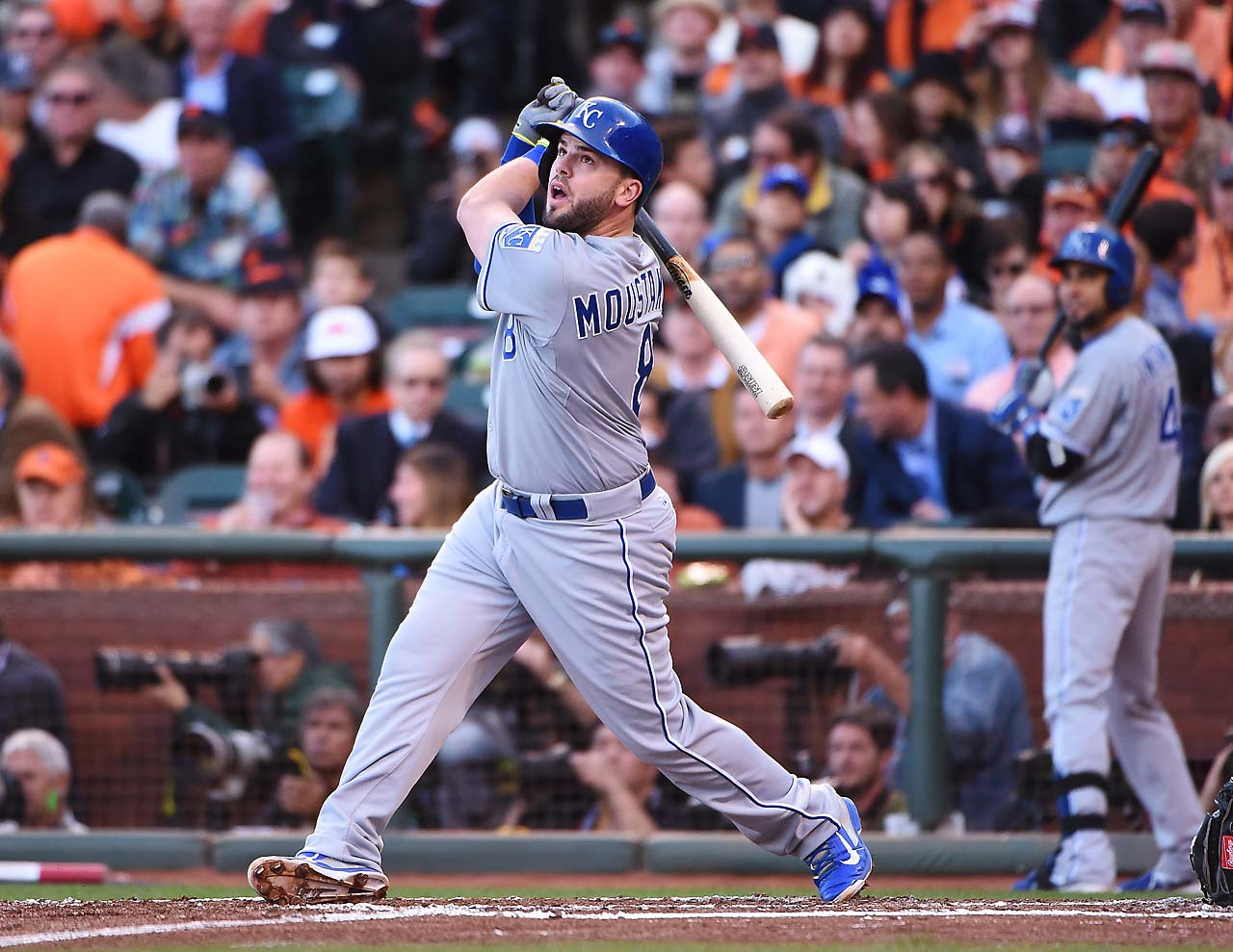 Mike Moustakas had one of the Royals six hits in Game 3.