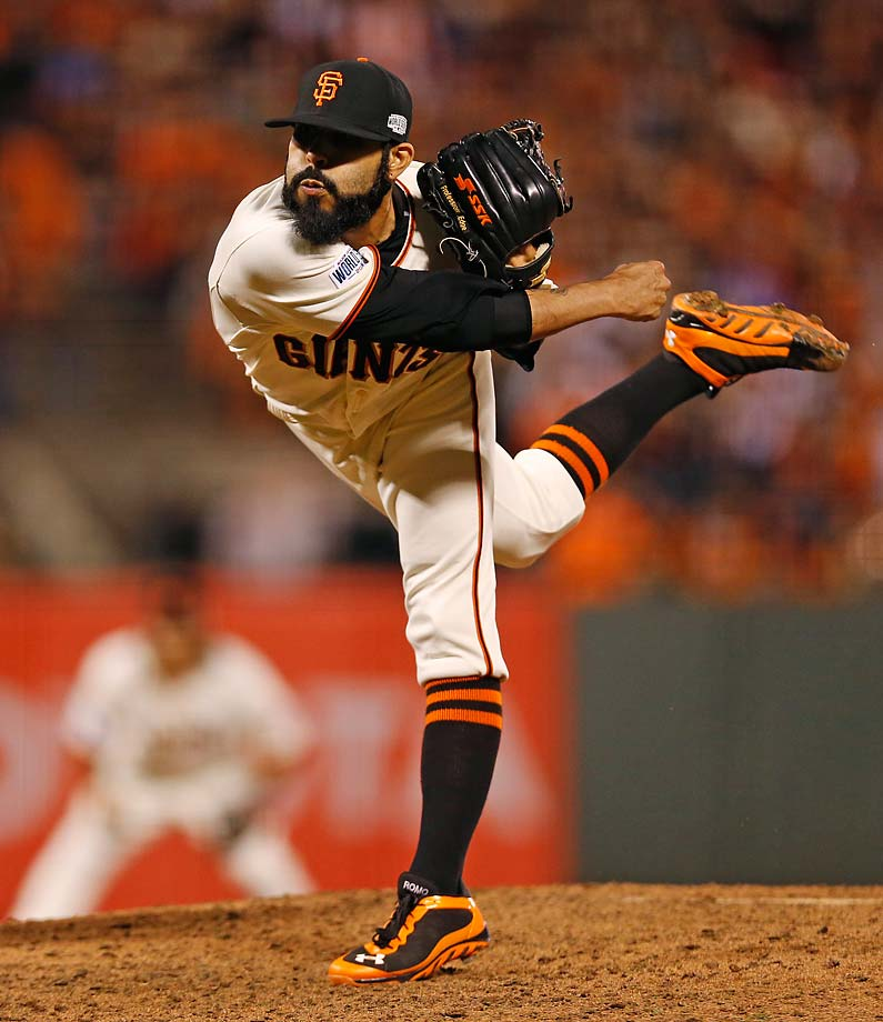Sergio Romo pitched 1 1/3 innings, striking out three Royals.