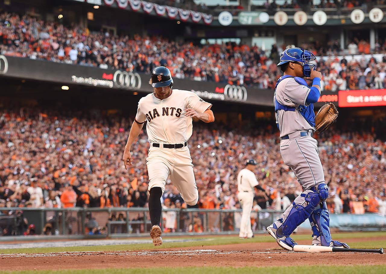 Hunter Pence scored in the second inning on the first of Brandon Crawford's three RBI on the night.