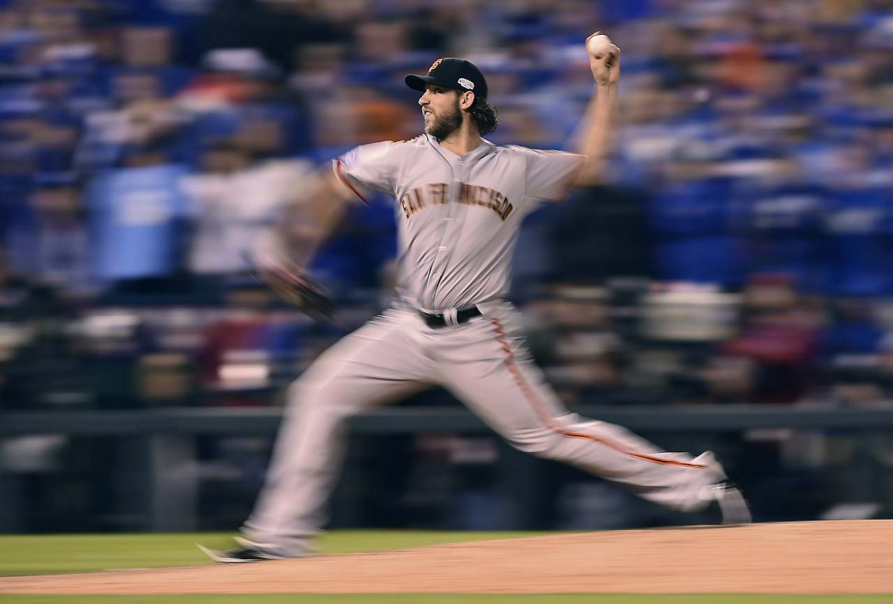Two days after throwing 117 pitches in a complete-game shutout, Madison Bumgarner came out of the pen and hurled five more scoreless innings on 68 pitches to keep Kansas City at bay.