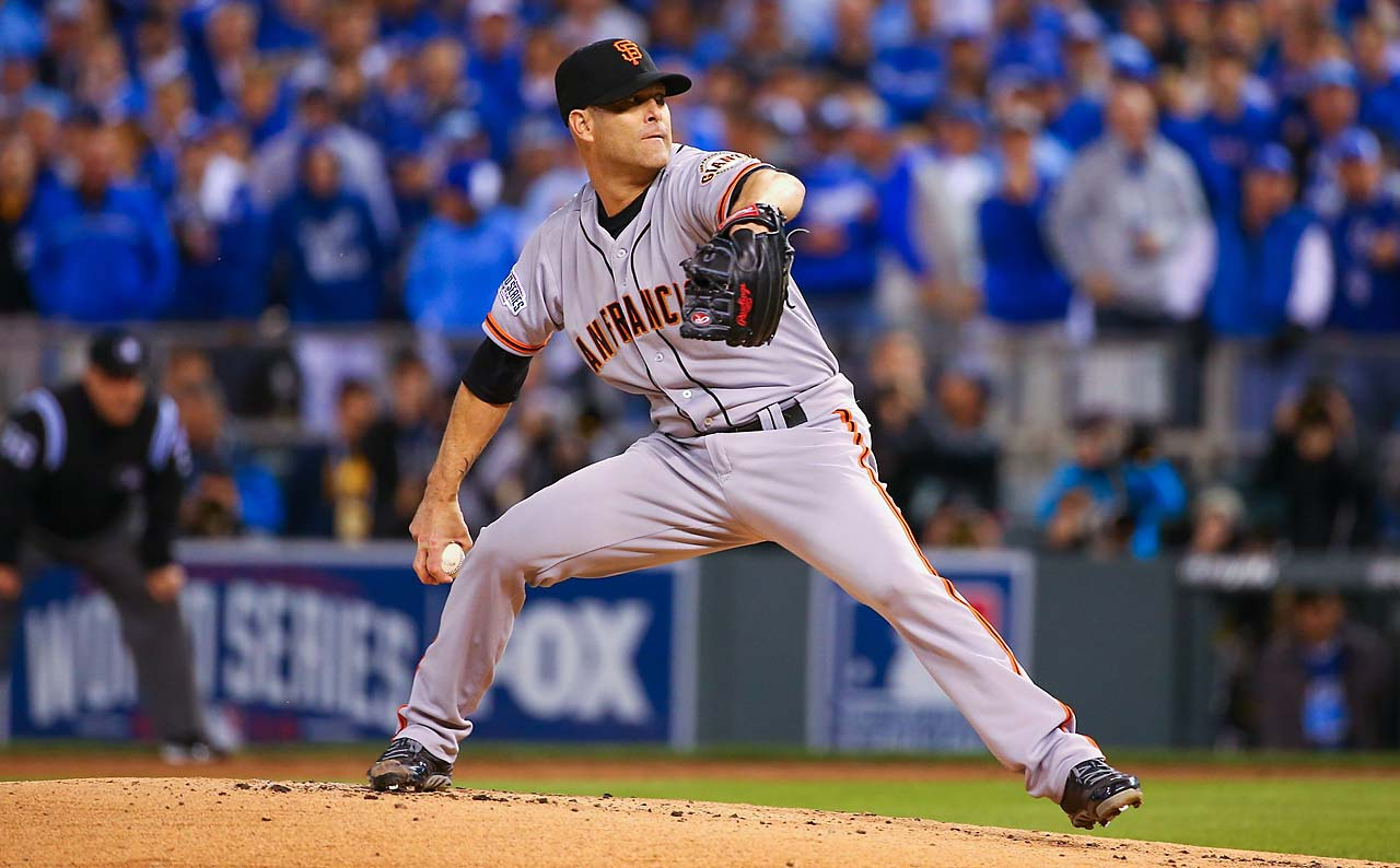 Tim Hudson, at 39 the oldest Game 7 starter, allowed two runs in 1 2-3 innings. (Text credit: AP)