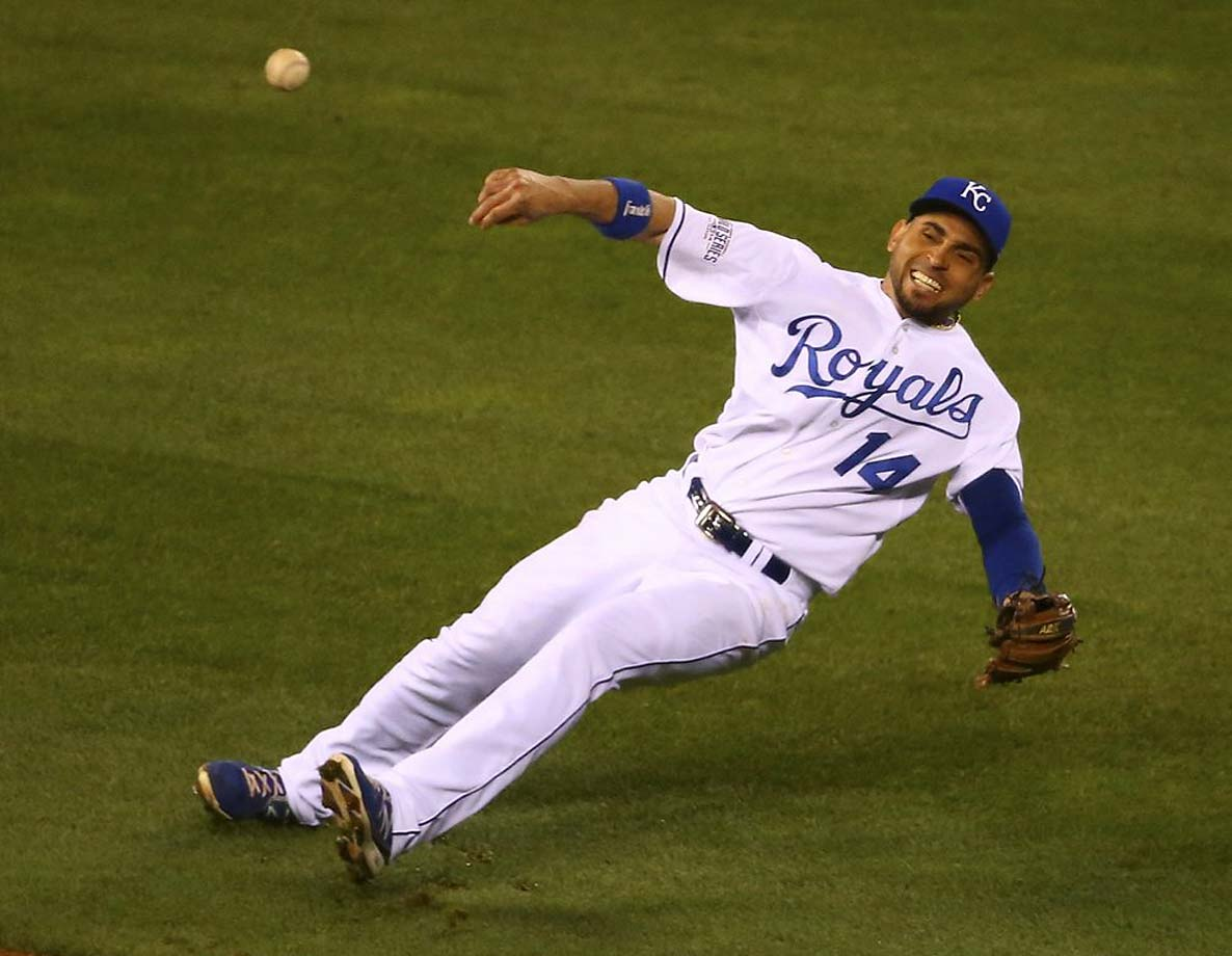 Unfortunately for Infante, he lost his balance and didn't get enough on the throw.