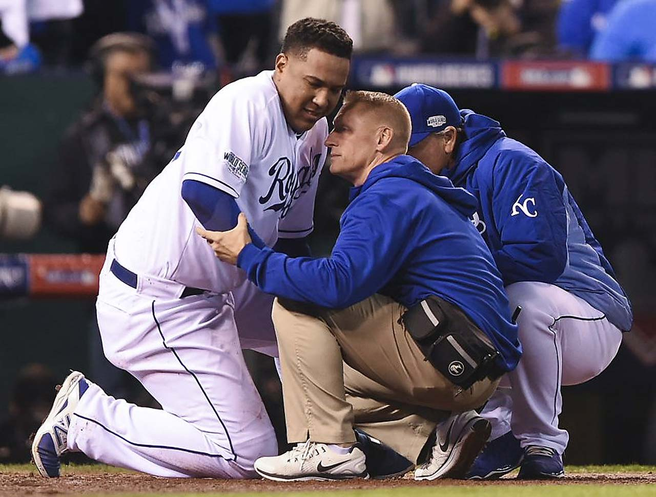 The Royals weren't immediately sure if their veteran catcher would be able to stay in the game.