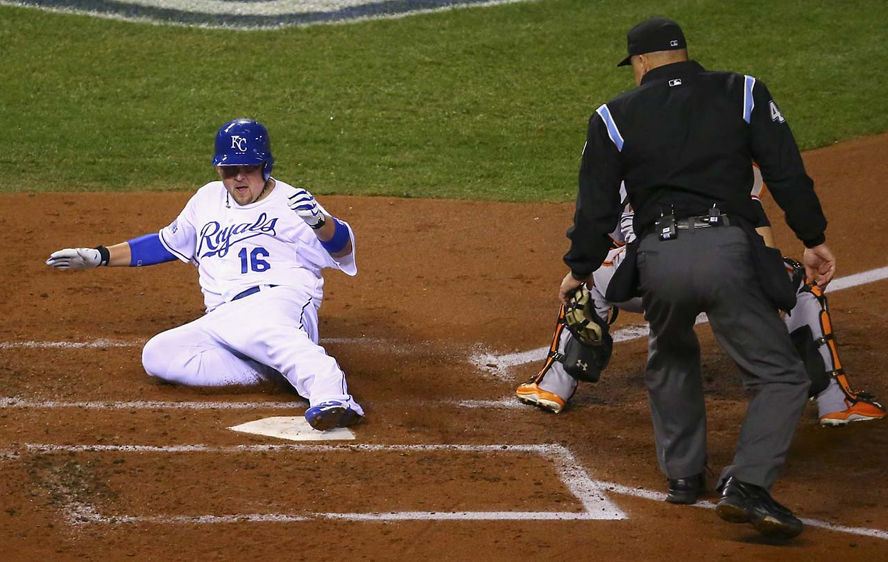 Billy Butler scored on an Alex Gordon double to give the Royals their first run.