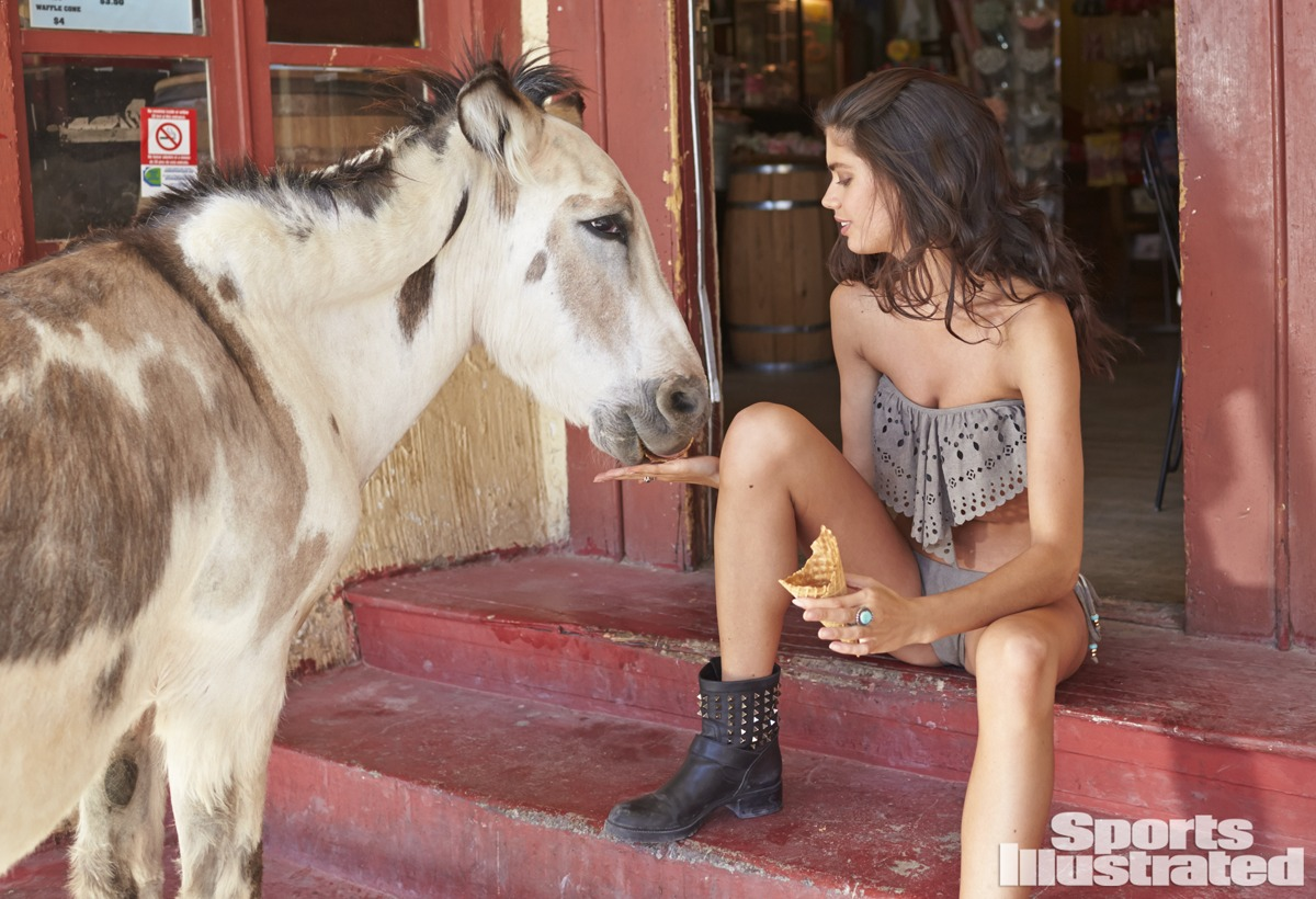 Sara Sampaio was photographed by Ben Morris on U.S. Route 66.