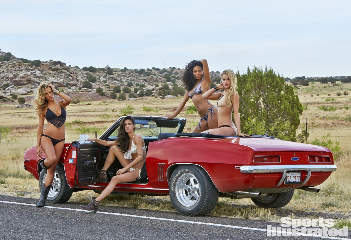Hannah Ferguson, Sara Sampaio, Ariel Meredith, and Ashley Smith were photographed by Ben Morris on U.S. Route 66.
