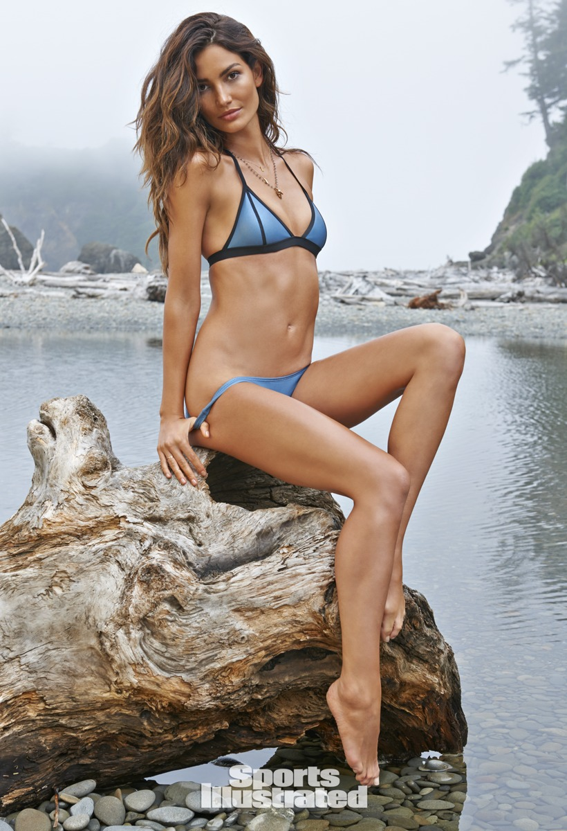 Lily Aldridge was photographed by Yu Tsai in Washington. Swimsuit by Dakine