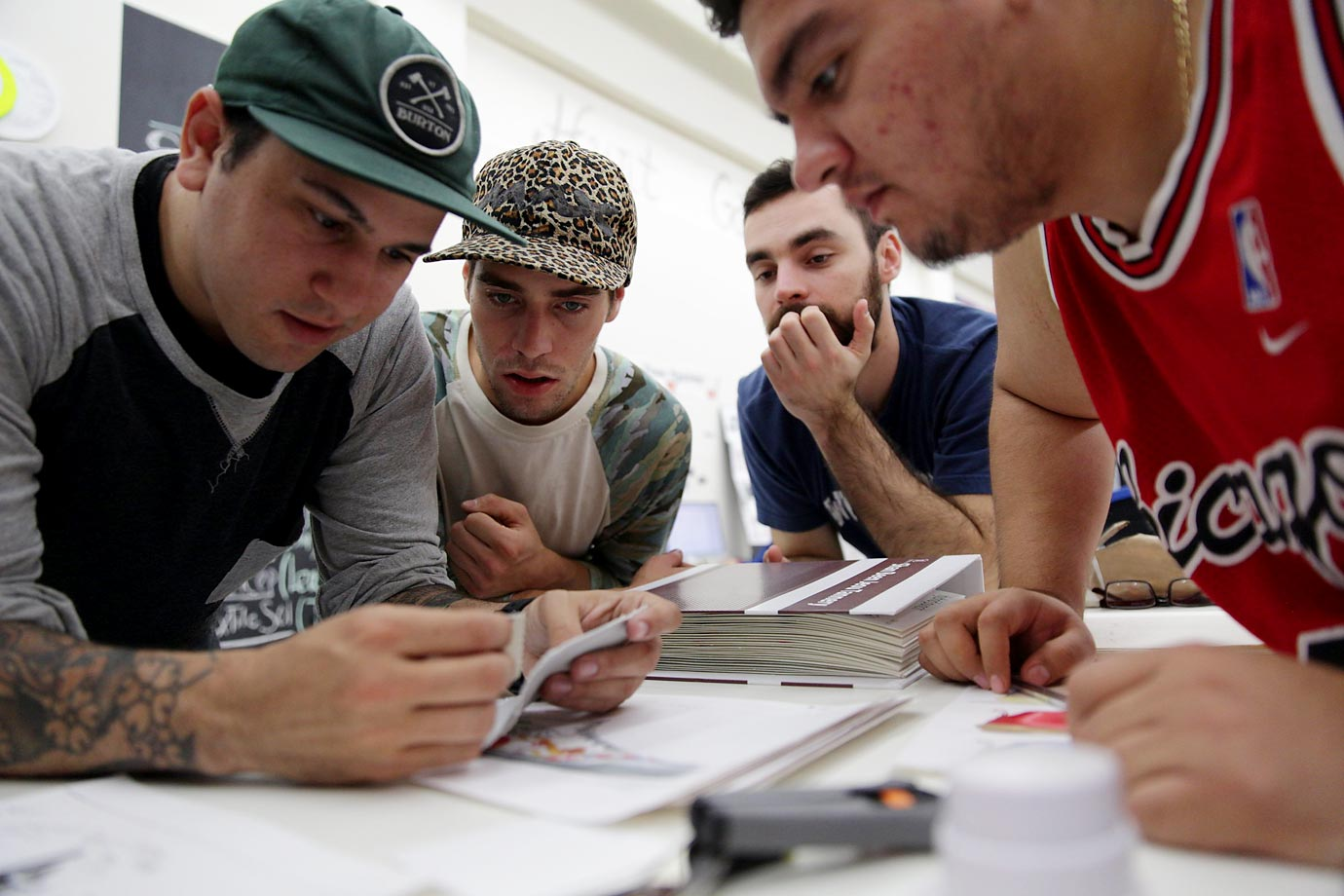 "From left: Shaun Kosoy (representing the United State), Jared Fiorovich (USA), Jesus Garate (Mexico) and Guilherme Lemes (Brazil) were competitors, technically, but eager to help each other in an effort to preserve the ""design integrity"" of sneakers."