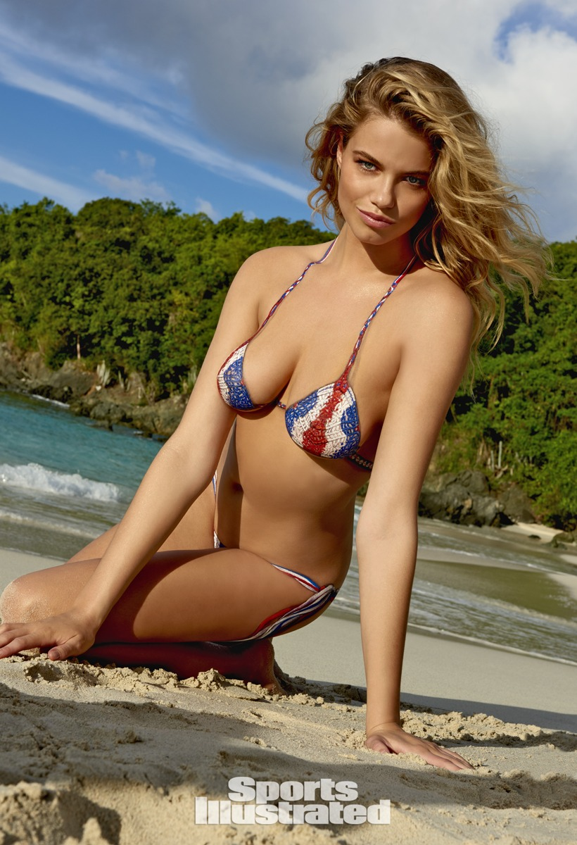 Hailey Clauson was photographed by Yu Tsai in St. John, US Virgin Islands. Bodypainting by Joanne Gair. Swimsuit inspired by Indah.