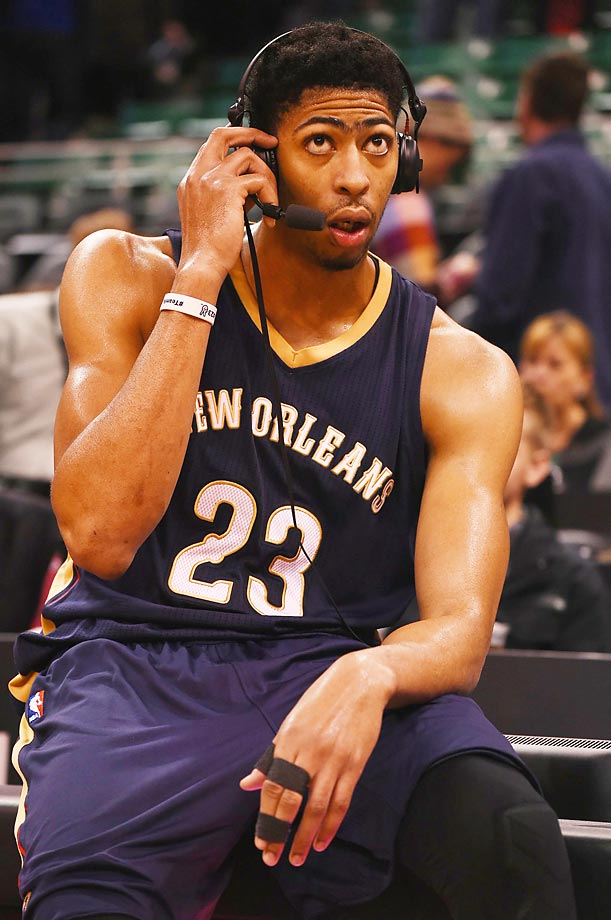 Anthony Davis looks a little confused, but the Pelicans still defeated the Jazz 106-94 on Saturday.