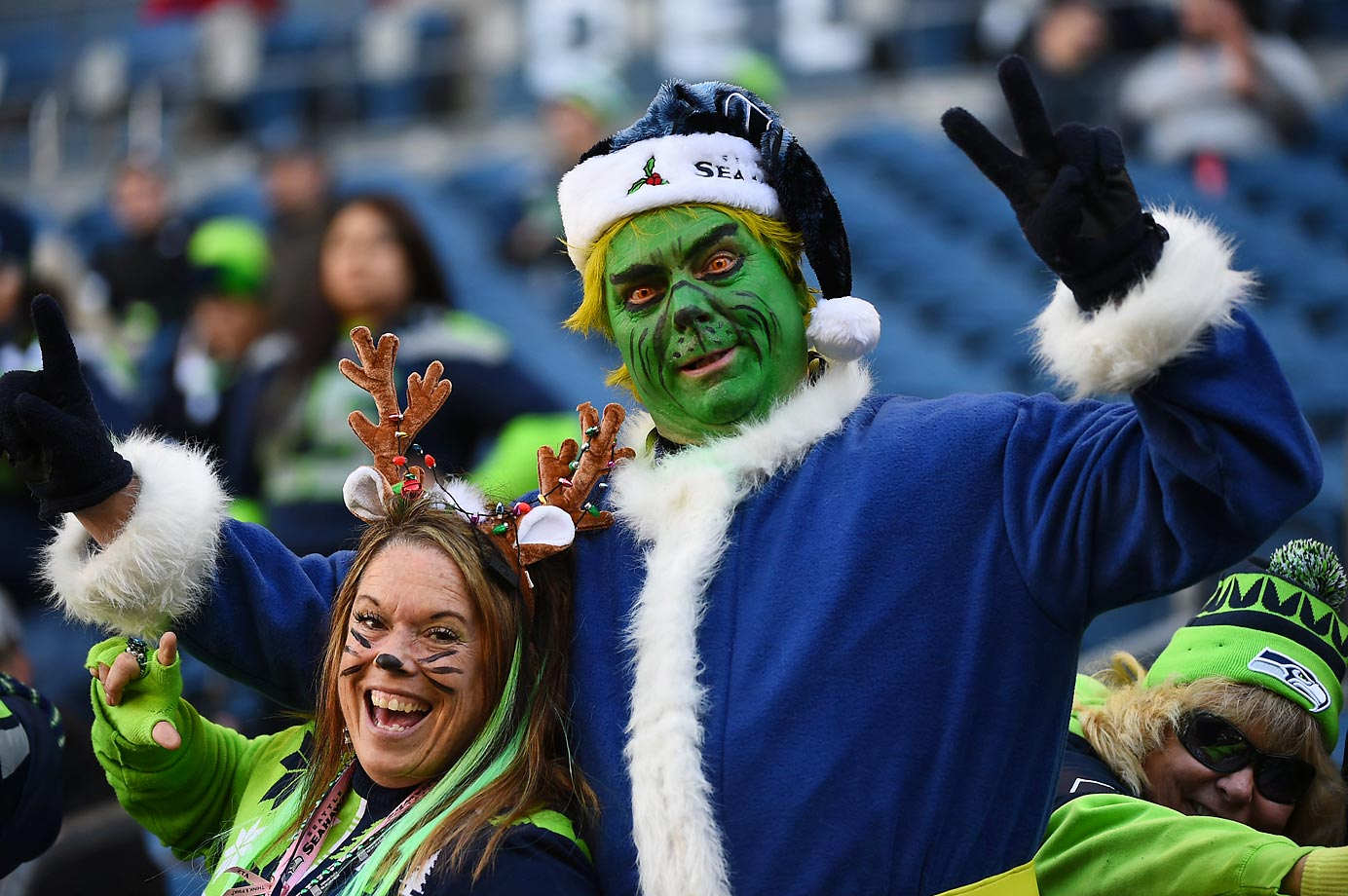 The Grinch, dressed as a Seahawks fan, made his appearance at the 49ers game in Seattle.