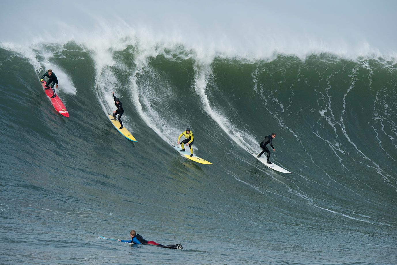More than 65 of the world's top big wave surfers descended on Half Moon Bay, Calif., to ride the fabled Mavericks big wave. Very few riders become big wave surfers; and of those, only a select few are willing to risk the hazardous, sometimes deadly conditions at Mavericks.