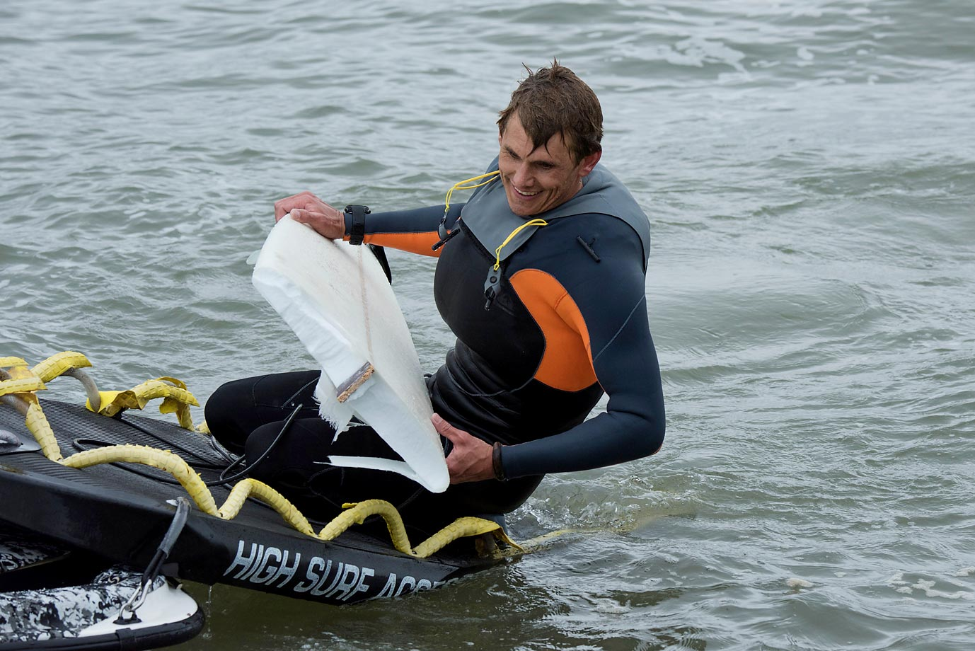 Jamie Mitchell has a laugh after riding Mavericks and breaking three boards on the day.