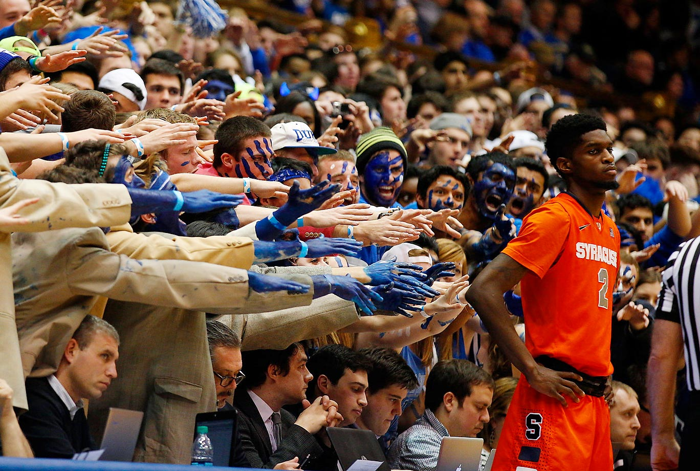 Syracuse Orange forward B.J. Johnson (2) waits to inbound the ball to start the second half against Duke as the Cameron Crazies waves their hands at him.