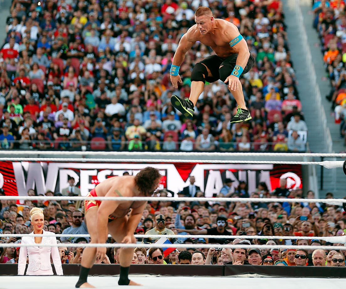 John Cena descends toward opponent Rusev during last weekend's WrestleMania 31 in San Francisco.