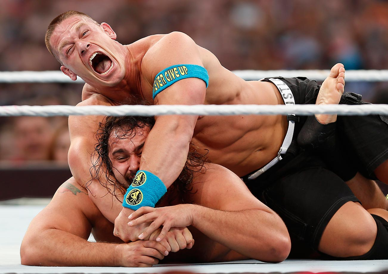 Rusev and John Cena duke it out during WrestleMania 31 last weekend. Cena defeated the Bulgarian Rusev to the delight of the USA-chanting crowd.