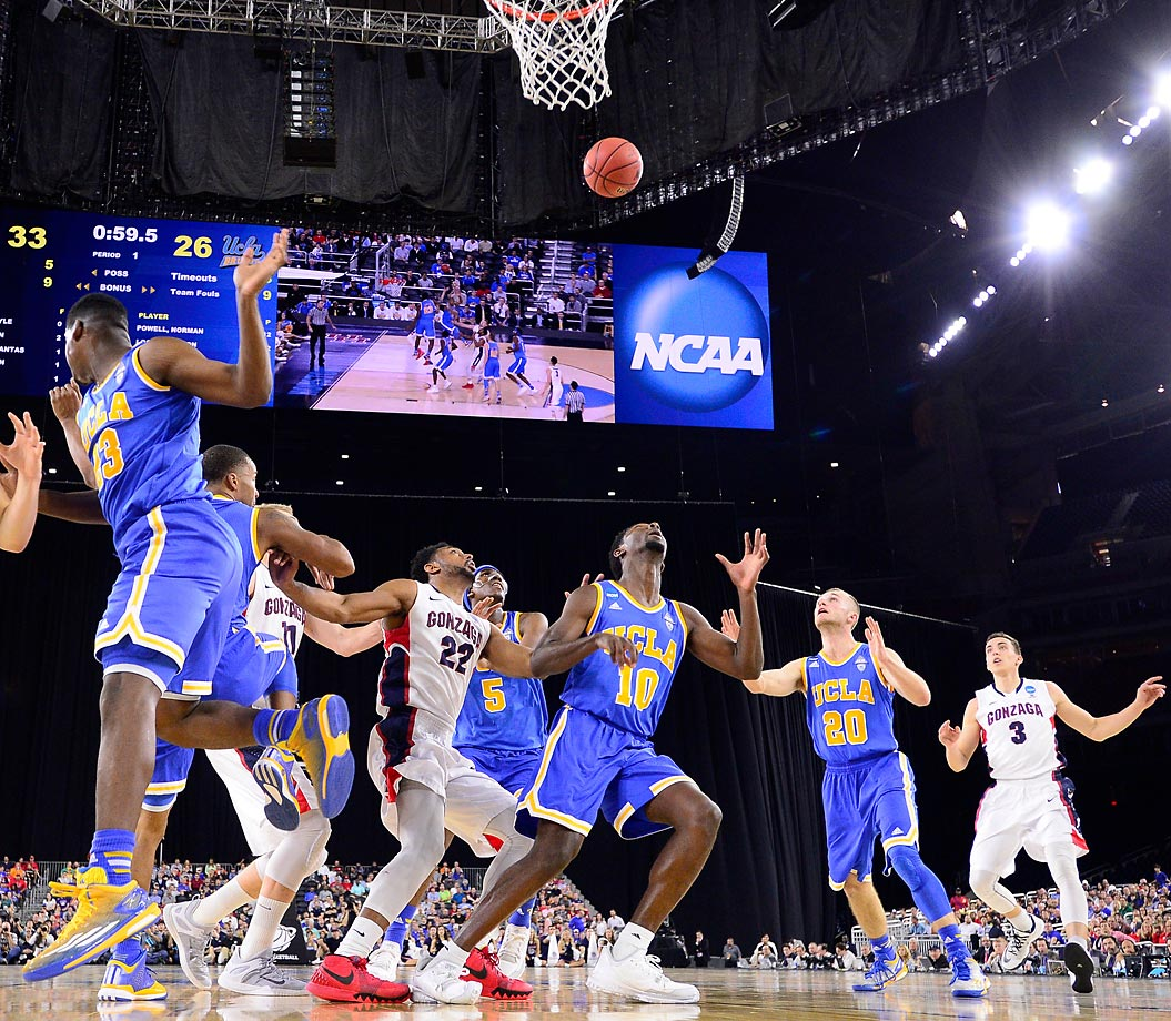UCLA and Gonzaga players positions for a rebound during a Sweet 16 matchup in Houston last week. The Zags beat the Bruins 87-74 before losing to Duke in the Elite 8 two days later.