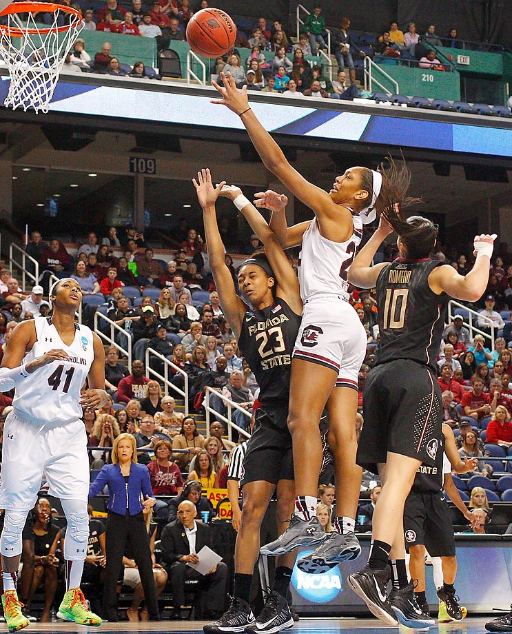 South Carolina's A'ja Wilson puts up a shot over the Florida State defense during an Elite 8 game in Greensboro, N.C. With their 80-74 win, the Gamecocks advanced to the first Final Four in program history.