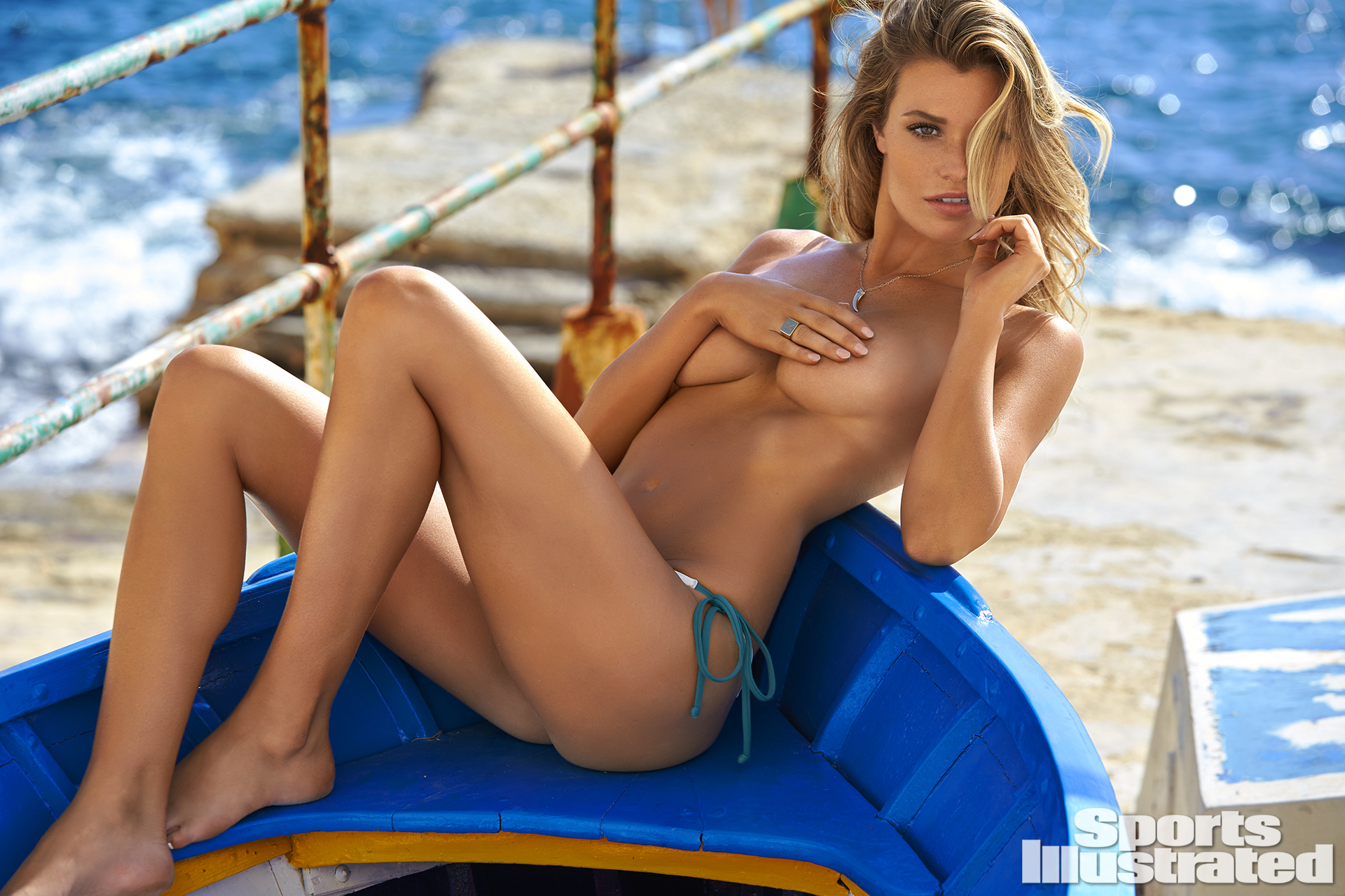 Samantha Hoopes was photographed by Ben Watts in Malta. Swimsuit by AYRA SWIMWEAR.