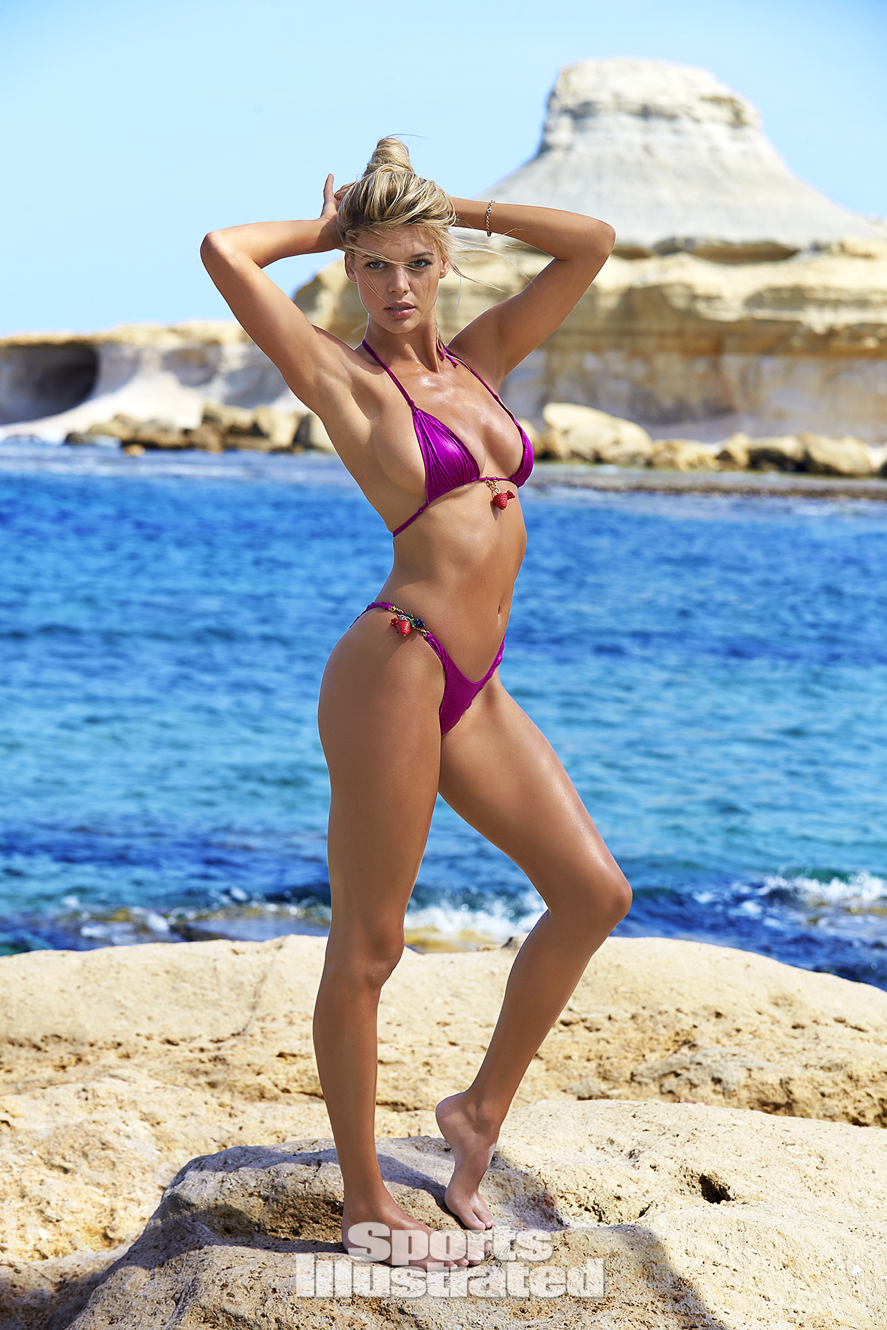Kelly Rohrbach was photographed by Ben Watts in Malta. Swimsuit by Agent Provocatuer.