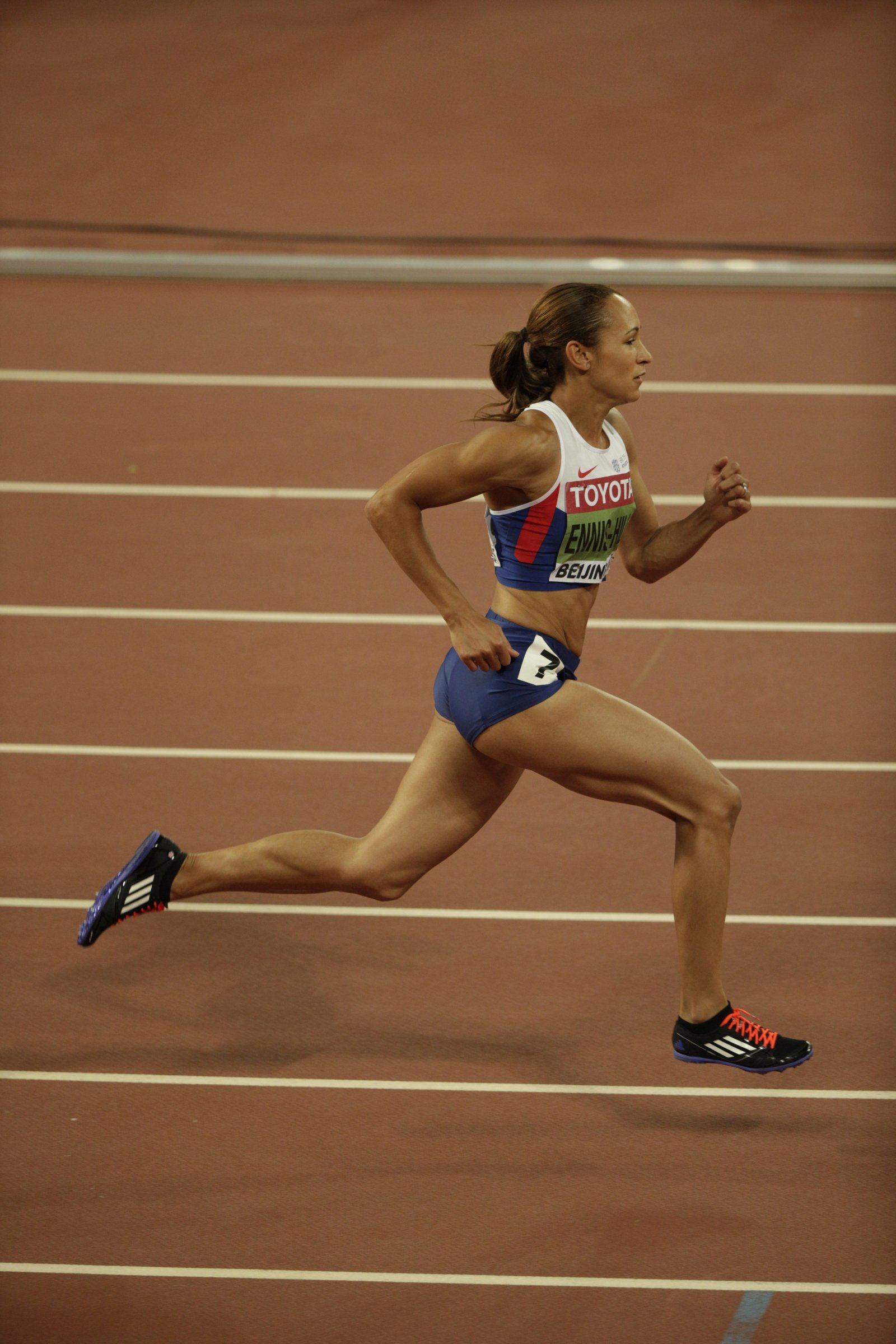 13 months after giving birth to a son, Olympic champion Jessica Ennis-Hill wins gold in the women's heptathlon.