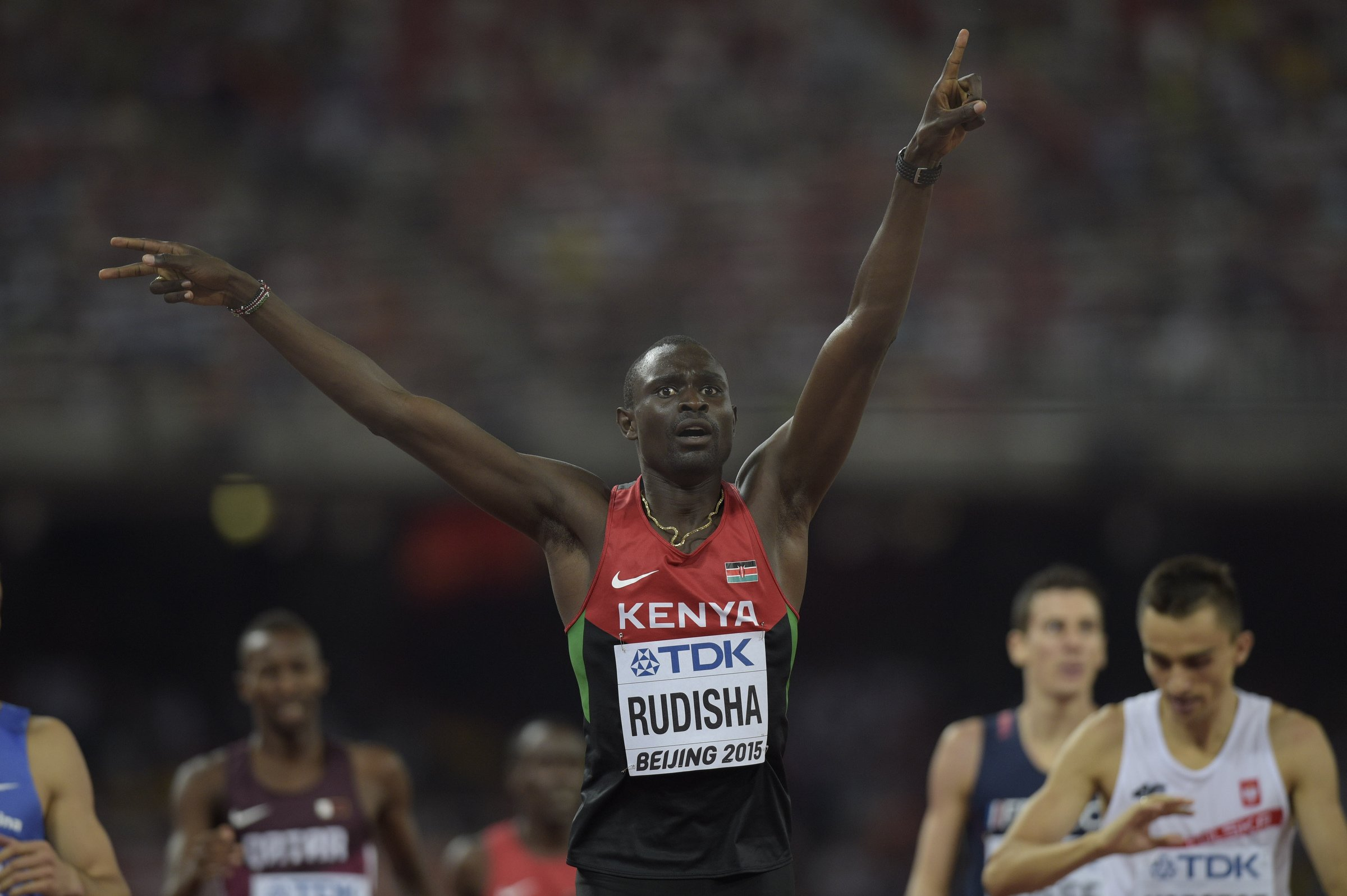 David Rudisha (KEN) won the 2012 Olympics in world record fashion but won his second world championship crown in tactical fashion with a 1:45.84 victory.