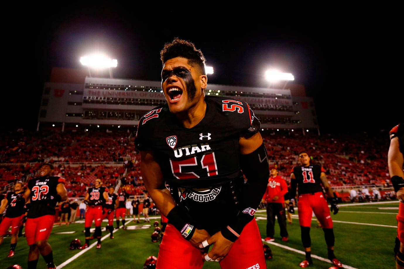 Jason Fanaika of Utah was covered with eyeblack during pregame warmup for a game against Arizona State.