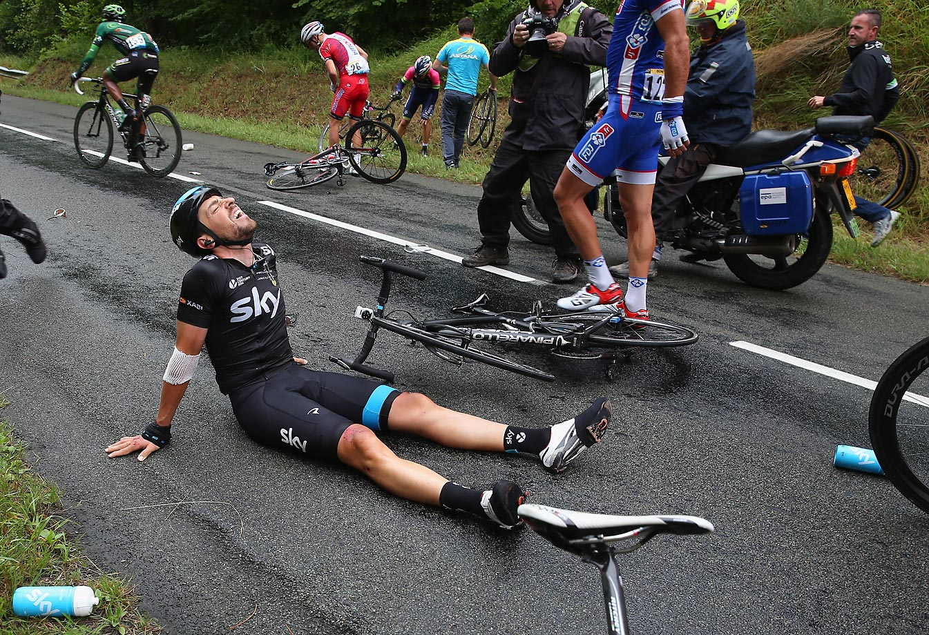 When it rains, it pours. A day after Froome pulled out, ceding Team Sky leadership to Richie Porte – who'd weathered a series of crashes himself – the man who Porte might have leaned on heavily in the high mountains, the reliable, 37-year-old Xabier Zandio, became entangled with some other riders and found himself sitting dazed on the pavement, then, shortly after, staring up at the roof of an ambulance. Porte will miss him in the second half of the race.