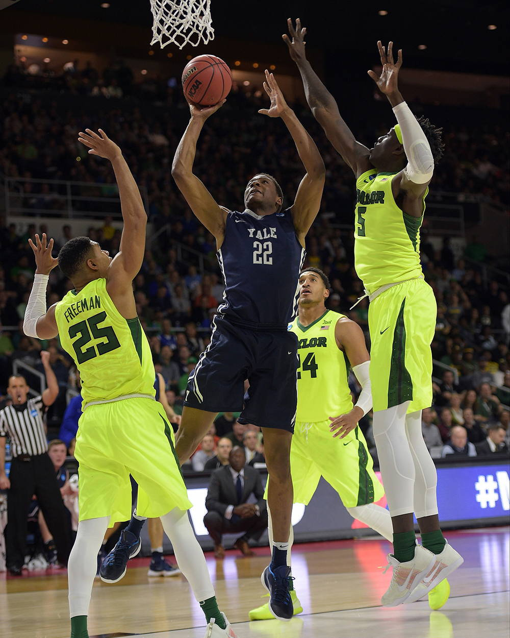 This year, both the 13th-seeded Rainbow Warriors and the 12th-seeded Bulldogs won their first ever tournament games. Yale defeated the fifth-seeded Baylor Bears 79–75, and Hawaii upset the fourth-seeded California Golden Bears 77–66. These were just two of the 10 double-digit seeds to win their first-round games. While Hawaii's Quincy Smith said he had the Warriors winning in his bracket, these teams broke brackets and barriers with their victories.