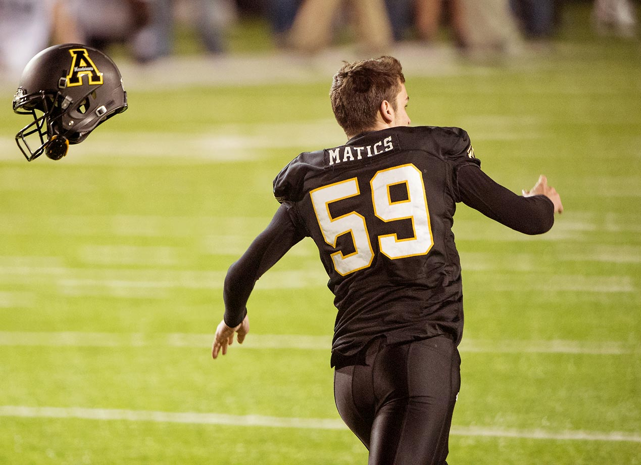 Zach Matics of the Appalachian State Mountaineers celebrates after kicking the game-winning field goal against the Ohio Bobcats during the Raycom Media Camellia Bowl in Alabama.