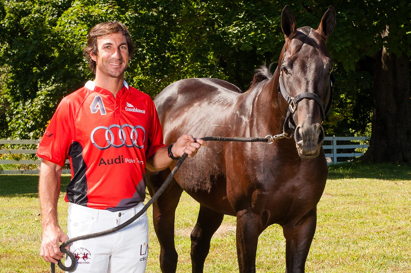 Audi's 9 goaler Miguel Novillo Astrada and Javi (Aguada | Rayo). Astrada scored 10 goals for the Audi win in the East Coast Open final against White Birch. Astrada was awarded MVP for his efforts.