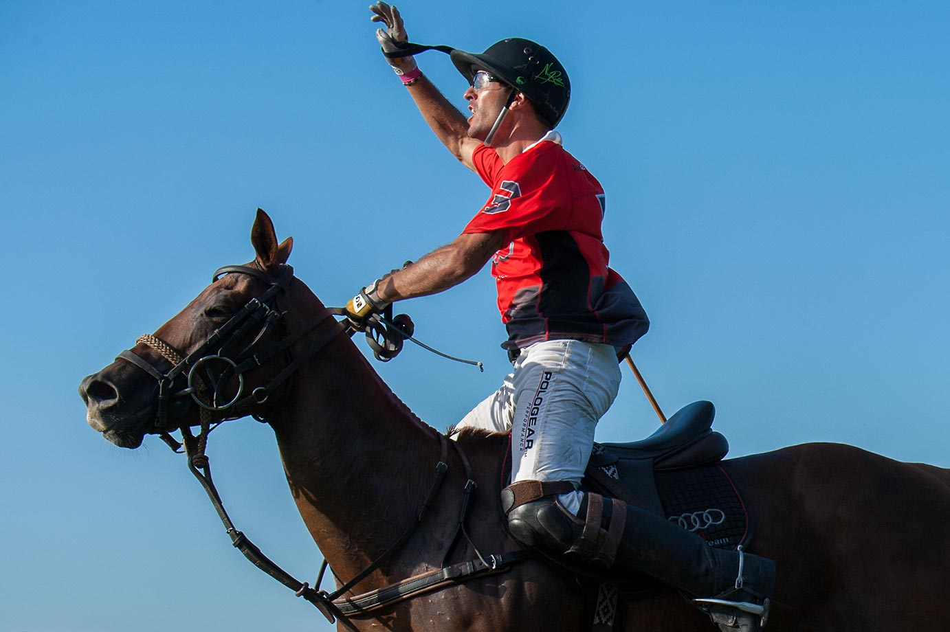 Nic Roldan celebrates winning the 2015 East Coast Open Polo Tournament.