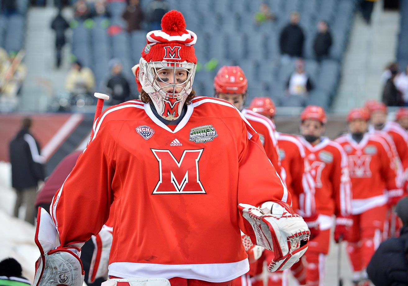 Miami Ohio goalie Jay Williams stays warm before a game against Western Michigan at Soldier Field in Chicago.  Miami Ohio won 4-3.