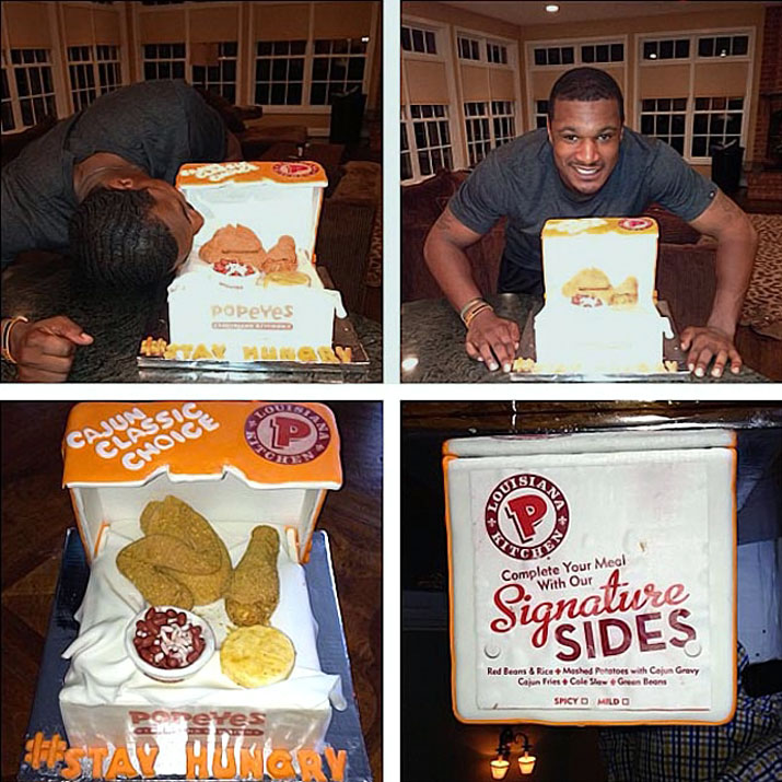 Adam Jones got a Popeye's chicken-themed cake for his 28th birthday.