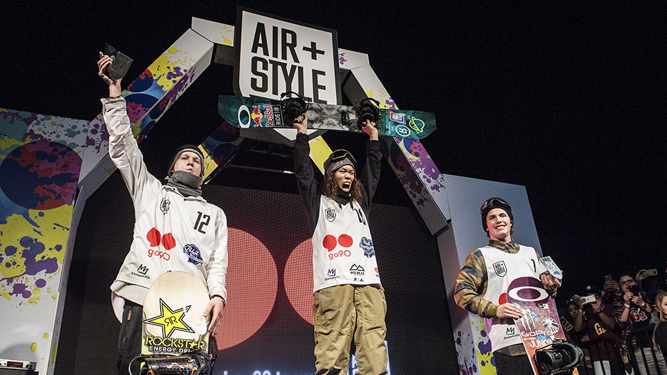 Yuki Kadono (center) wins Air+Style in Los Angeles.