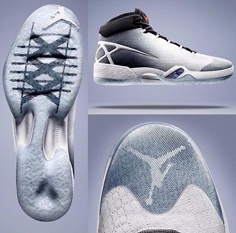 "The new Air Jordan XXX is out and  possesses the ""XXX"" branding on the heel and sole and features the Jumpman logo on the toe region. The midsole is similar to 2014's Jordan XX9, while the upper part of the shoe has a Flyweave look."