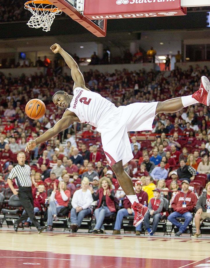 Arkansas forward Alandise Harris after dunking against Utah Valley.