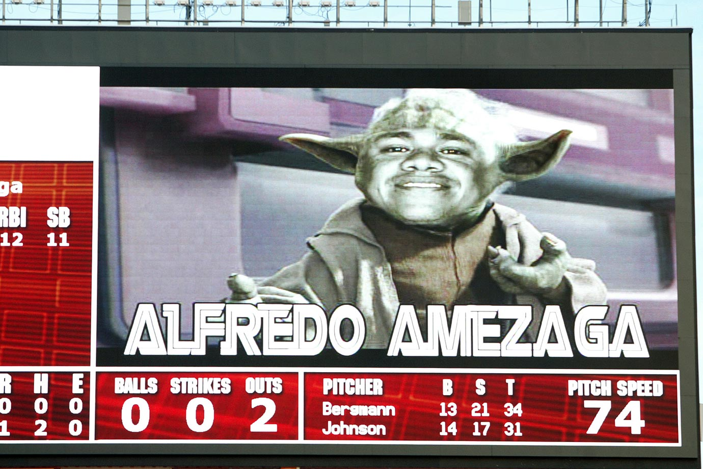 Florida Marlins utility player Alfredo Amezaga is shown on the scoreboard as Yoda during his at-bat in the first inning against the Washington Nationals on Aug. 22, 2006 at Sun Life Stadium in Miami.