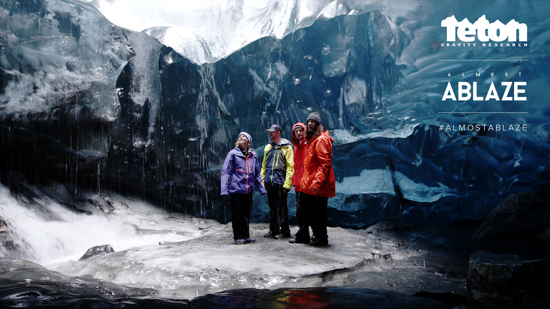 The 'Almost Ablaze' crew in an ice cave.