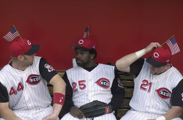 Adam Dunn, Dmitri Young and Sean Casey :: Getty Images