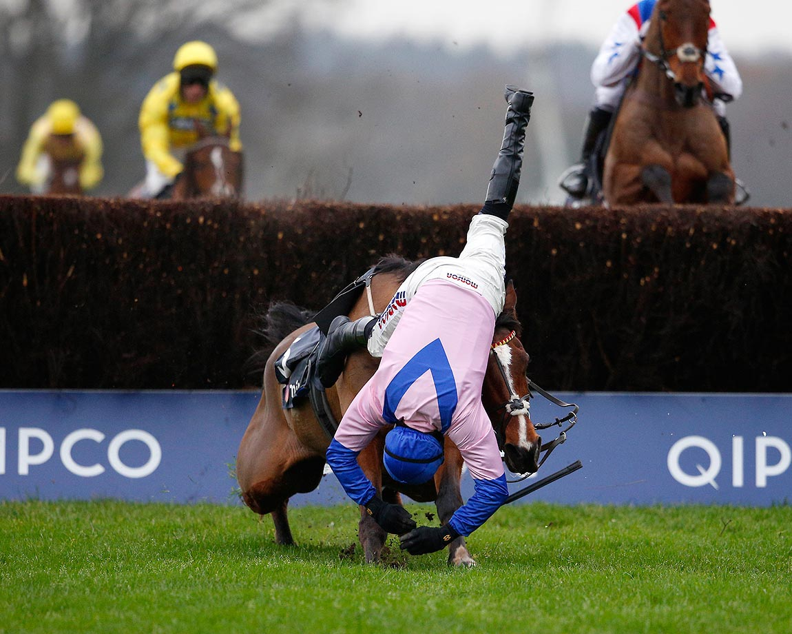 Harry Skelton riding Amore Alato during the Mitie Novices' Steeple Chase at Ascot racecourse.