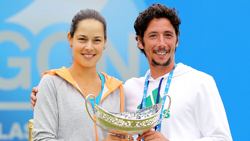 Ana Ivaonvic poses with former coach Nemanja Kontic after winning the Aegon Classic title in Birmingham.