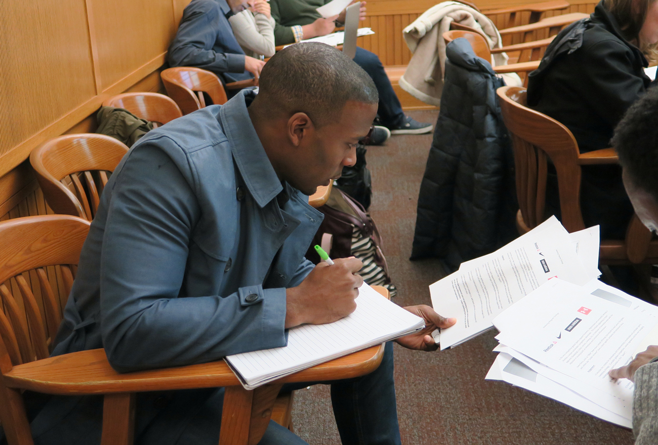 Browns receiver Andrew Hawkins in a sports management class at Columbia University.