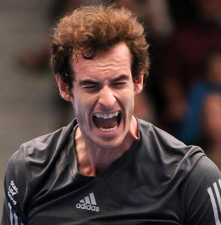 Andy Murray celebrates during the  final match against David Ferrer at the Erste Bank Open tennis tournament in Vienna, Austria.