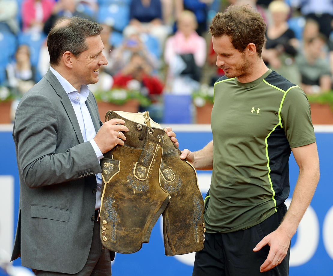 Andy Murray  is given Lederhose after his final match against Philipp Kohlschreiber at the ATP Tennis BMW Open in Munich.