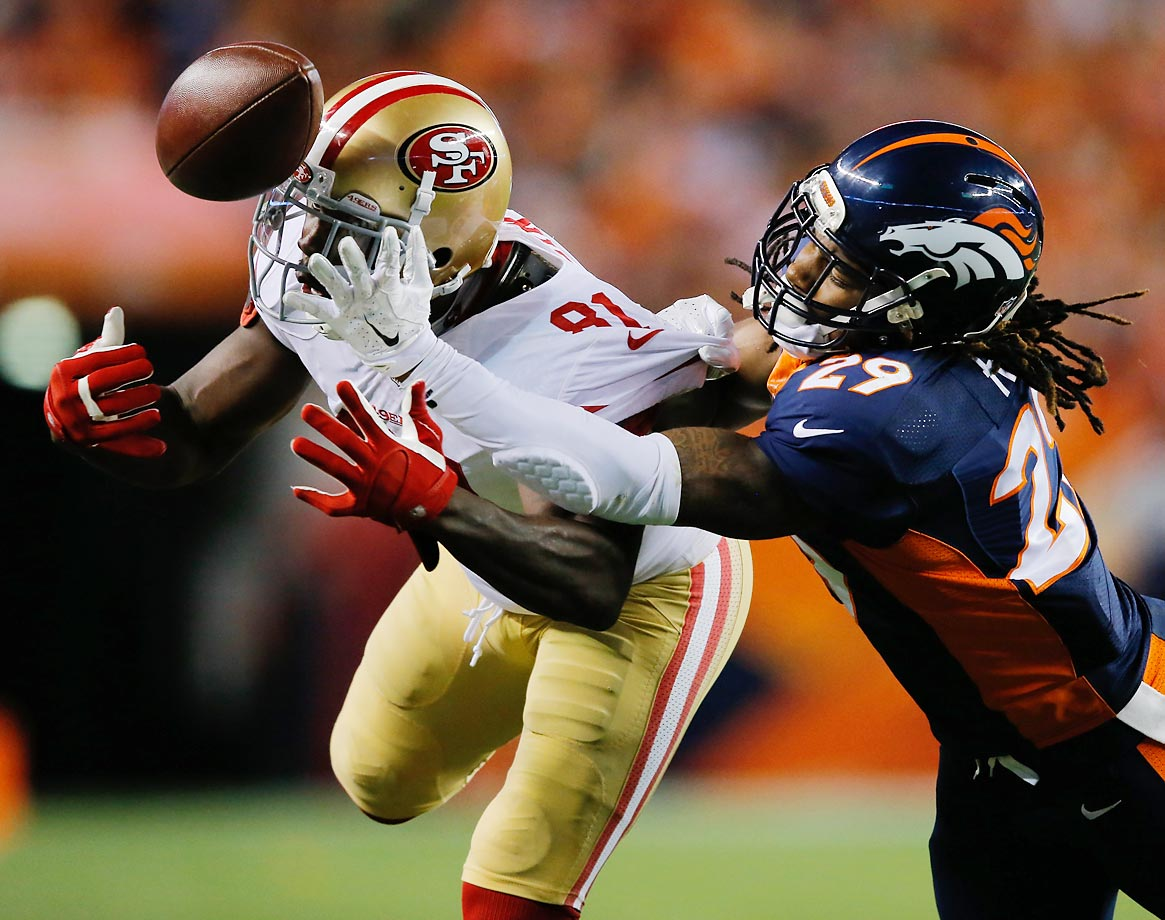 Denver Broncos cornerback Bradley Roby is called for pass interference after breaking up a pass intended for San Francisco 49ers receiver Anquan Boldin.